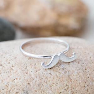Cute mustache adjustable ring in si..