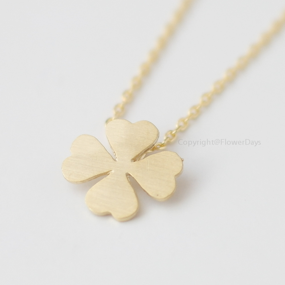 necklace four clover charmed plated gold by leaf jewellery lily personalised