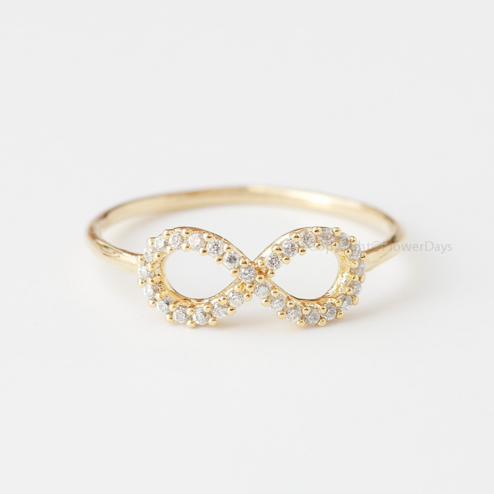 infinity ring gold. us size 6.5 simple crystals infinity ring in gold infinity t