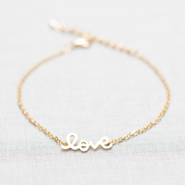 LOVE Word Bracelet in gold