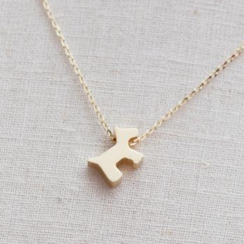 Cute Dog,puppy Necklace in gold