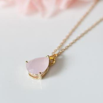 ICY PINK teardrop Glass gold chain necklace
