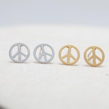 Peace sign stud earrings in gold